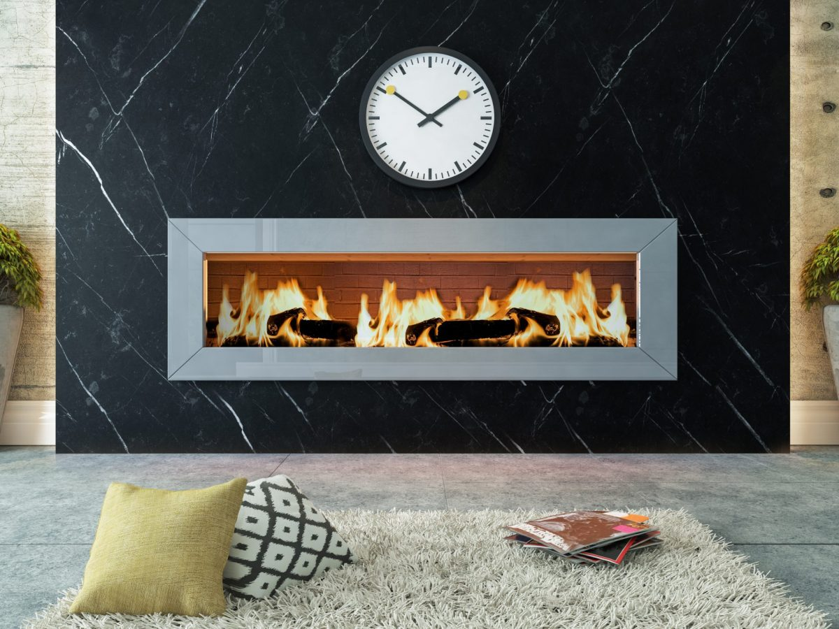 living room with black marble fireplace decor design | heat design company